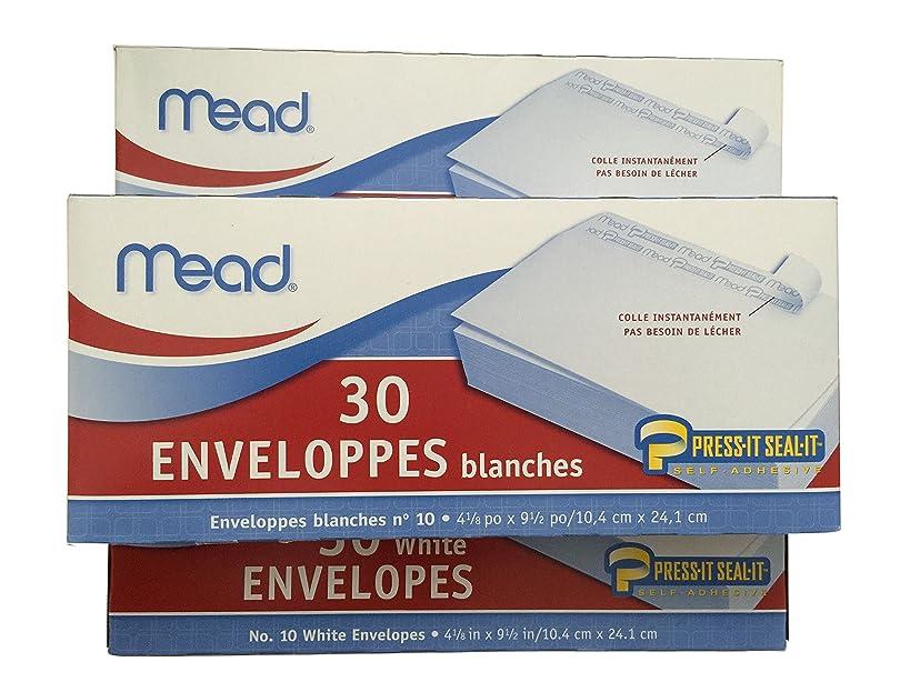 Mead #10 Envelopes, Press-it Seal-it, White, 30/box , 3 Pack