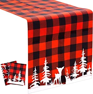70 x 11.8 Inch Buffalo Plaid Table Runner 2 Pieces Christmas Check Table Runner Burlap Xmas Runner Tablecloth Black and Red Plaid Christmas Table Decor for Xmas Table Home Decoration