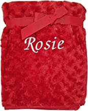 Red - Rose Kids Essentials Baby Boy Girl Personalised Red Blanket Embroidered Name