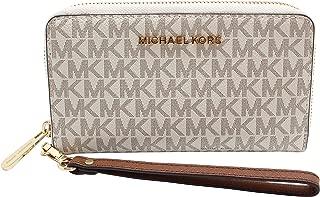 Michael Kors Jet Set Travel Signature PVC Large Flat Multifunction Phone Case Wristlet
