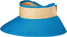 RBV001OS Ribbon Visor w/ Adjustable Raffia Bow Closure