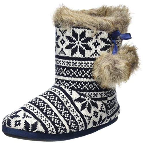 e035d0a84 Autumn Faith Ladies Knitted Fairisle Lined Bootie Slippers with Cosy Faux  Fur Trim & Pompoms
