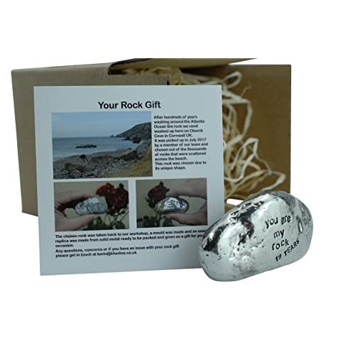 19th Anniversary You Are My Rock Gift Idea - Solid Metal Heavy Polished Rock Gift for