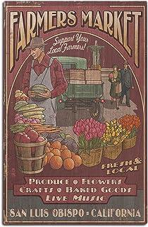 San Luis Obispo, California - Farmers Market Vintage Sign (12x18 Wood Wall Sign,