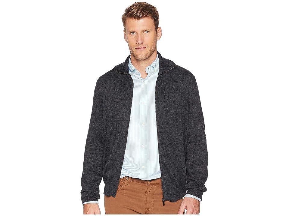 Perry Ellis Jersey Knit Zip Front Cardigan Sweater (Charcoal Heather) Men