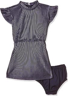 Tommy Hilfiger Girl's Velvet Plisse Dresses, Blue, 80 EU