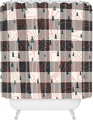 Deny Designs Rachael Taylor Circles White Black Shower Curtain 69 x 72