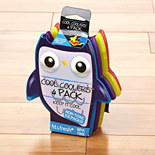 Fit & Fresh Cool Coolers, Slim Ice Packs for Lunch Boxes, Bags and Coolers, Owl Shapes for Kids, Set of 4, Multicolored