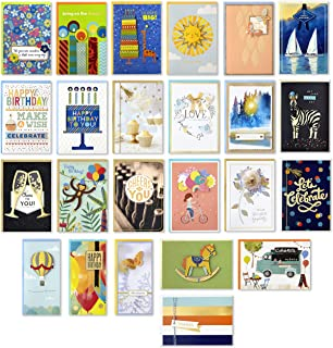 Hallmark Pack of 24 Handmade Assorted Boxed Greeting Cards, Herringbone Pattern—Birthday Cards, Baby Shower Cards, Wedding Cards, Sympathy Cards, Thinking of You Cards, Thank You Cards (5EDX1012)