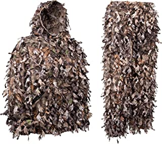 North Mountain Gear Camo Ghillie Suit 3D Leaf Zippers Pockets Woodland Brown