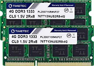 Timetec Hynix IC 8GB KIT (2x4GB) DDR3 1333MHz PC3-10600 Non ECC Unbuffered 1.5V CL9 2Rx8 Dual Rank 204 Pin Sodimm Laptop N...