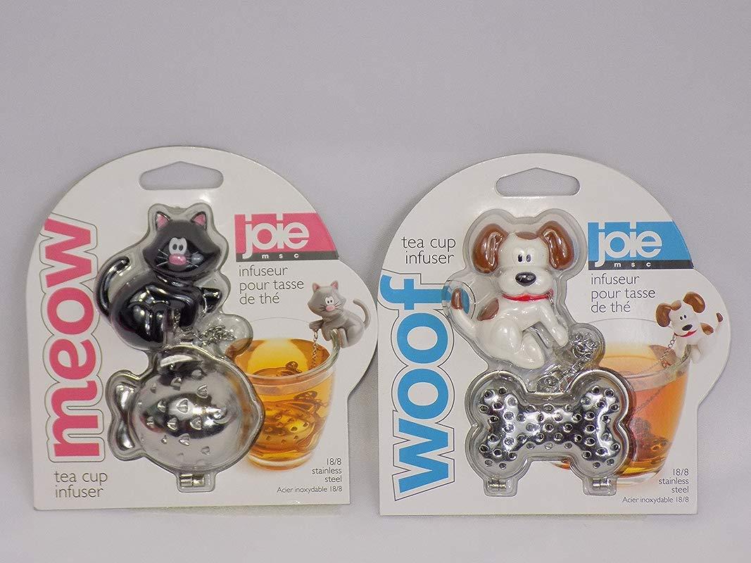 Joie Dog Woof Black Cat Meow Tea Cup Infuser Bundle