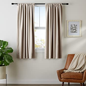 "AmazonBasics Room Darkening Blackout Window Curtains with Tie Backs Set, 42"" x 63"", Taupe"