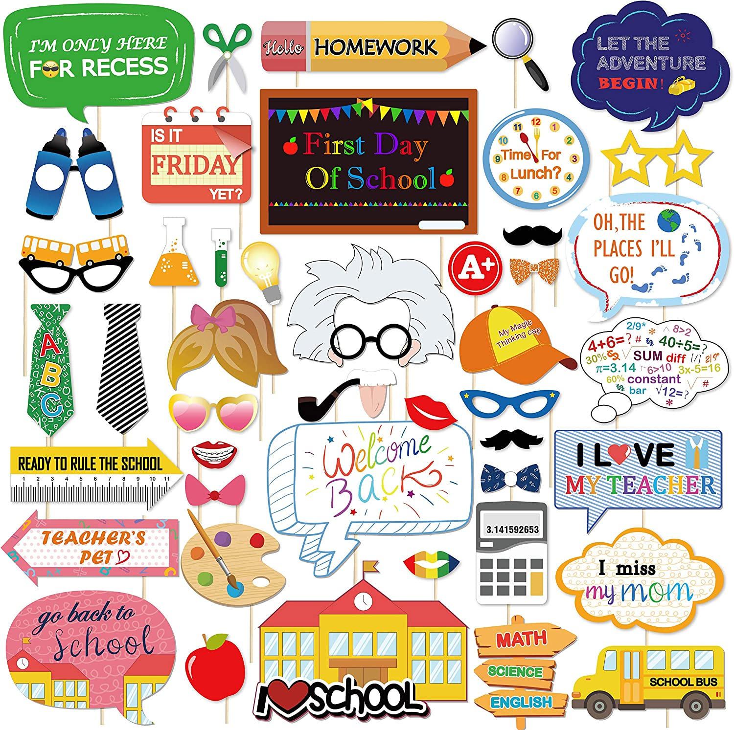 Konsait 46Count Back to School Photo Booth Props, First Day of School Welcome Decorations,Apple Pencil Stationery Chalkboard Decor for New Grade Celebrating Classroom Kindergarten Party Supplies