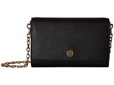 Tory Burch Robinson Chain Wallet (Black/Royal Navy) Bill-fold Wallet