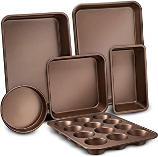 6-Pcs Nonstick Bakeware Set-Highest-Quality Baking Sheets, Non-Grease Cookie Trays, Wide & Square Bake Pan, Bread Loaf & R...