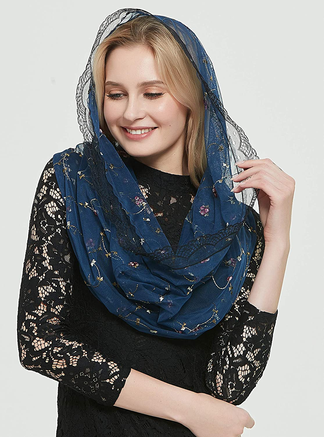 Orthodox Veil Head Covering with Embroidered Flowers Catholic Chapel Mantilla veil V50