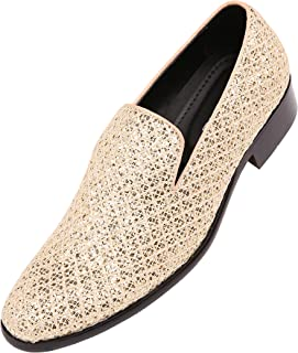 dc86a06eac4 Bolano Mens Metallic Sparkling Lattice Glitter Tuxedo Slip On Smoking  Slipper Dress Shoe