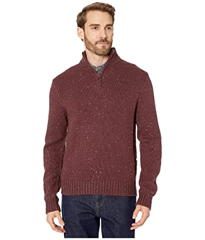 Lucky Brand Donegal Half Zip Mock Sweater (Heather Burgundy) Men