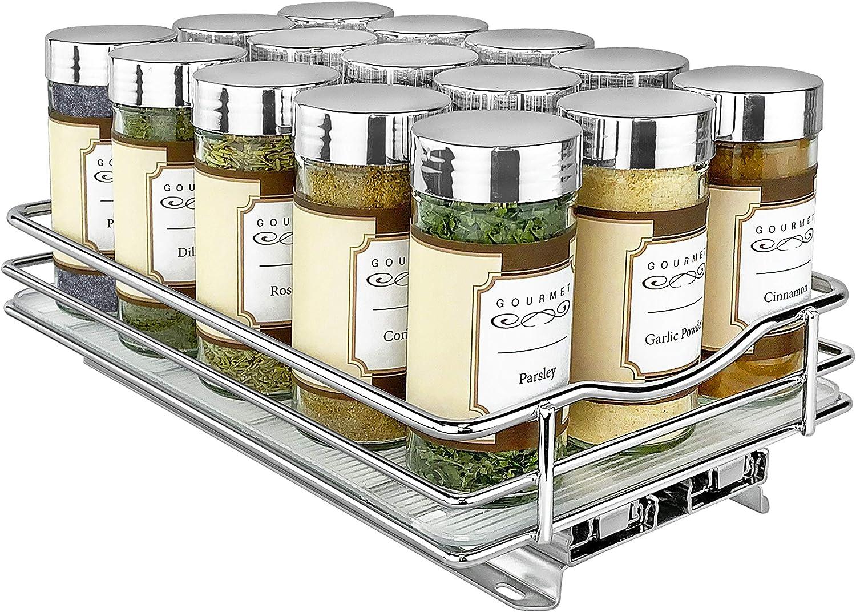 Lynk 430621DS Spice Rack Slide Cabinet Organizer, 6  Wide, Chrome