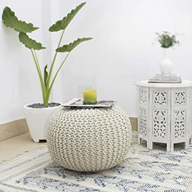 COTTON CRAFT - Hand Knitted Cable Style Dori Pouf - Ivory - Floor Ottoman - Cotton Braid Cord - Handmade & Hand Stitched