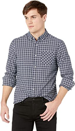 Long Sleeve Textured Indigo Plaid
