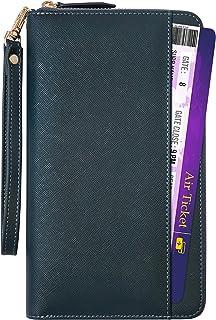 Travel Wallet RFID Blocking Document Organizer Bag, Family Passport Holder (Navy blue)