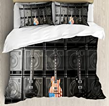 Ambesonne American Flag Duvet Cover Set, Black and Us Bass Guitar Electronic Rock Music Theme Digital Graphic Work, Decorative 3 Piece Bedding Set with 2 Pillow Shams, Queen Size, Multicolor