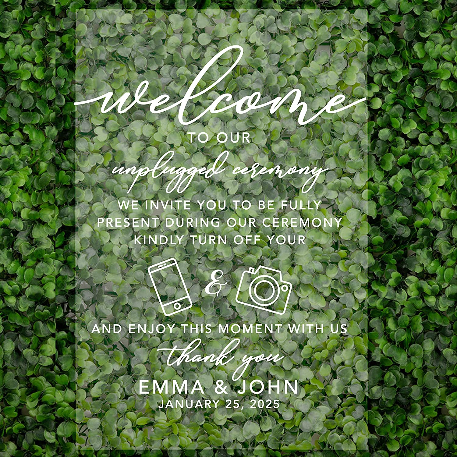 Andaz Press Custom Unplugged Ceremony Large Manufacturer OFFicial shop Acrylic Wedding Sign Now free shipping