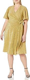 Donna Morgan Women`s Plus Size Stretch Sequin Knit Faux Wrap Dress