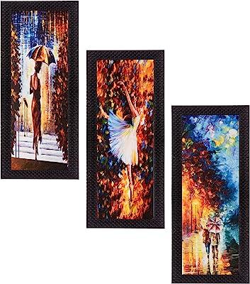 eCraftIndia Satin Matt Textured Synthetic Wood Art Painting (17.8 cm x 1.3 cm x 40.7 cm, Set of 3, C3FPB2105)
