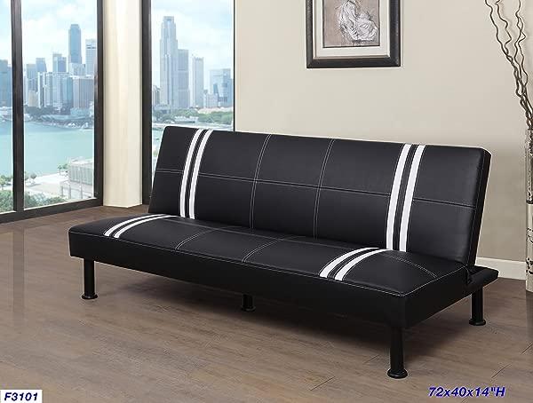 Beverly Furniture F3101 Futon Convertible Sofa Black White