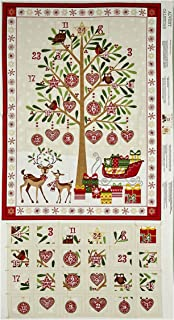 Andover Traditional Metallic Christmas Advent Calender 24in Panel Bright Fabric,