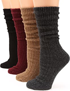 Women's Premium Winter 4 Pairs Wool And Cotton Blend Crew Socks Collection