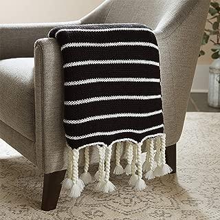 Stone & Beam Modern Striped Knit Tassel Throw Blanket - 80 x 60 Inch, Black
