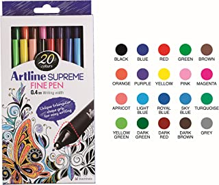 Artline 'Supreme Fine Pen' Fineliner Pens 0.4mm - Bright Vivid Colors For Technical Drawing - Pack 20