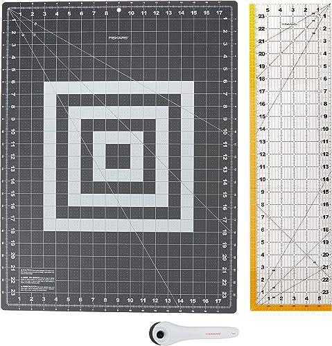 Fiskars Crafts 952301010 Rotary Sewing Cutting Set (3 Piece), Grey