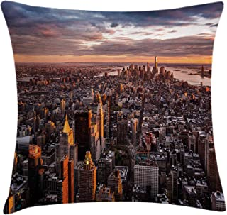 Ambesonne USA Throw Pillow Cushion Cover, Aerial View of The Manhattan Skyline at Sunset Famous Financial District NYC, Decorative Square Accent Pillow Case, 20