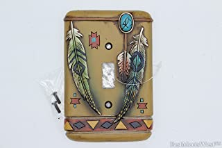 Southwestern Native American Rustic Feathers Switch Plate Covers Electric Western Decor (Single Switch)