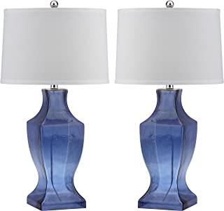 Safavieh Lighting Collection Glass Bottom Blue 28.5-inch Table Lamp (Set of 2)