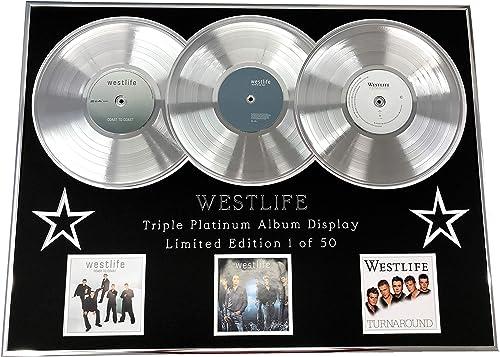 Everythingcollectible Westlife Triple Affichage Platinum Album LTD. Edition Coast to Coast + World of Our OWN + Turnaround COA