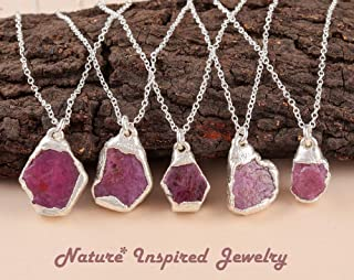 eValuesell Natural Raw Ruby Stone Handmade Necklace Electroformed 925 Sterling Silver Chain 18