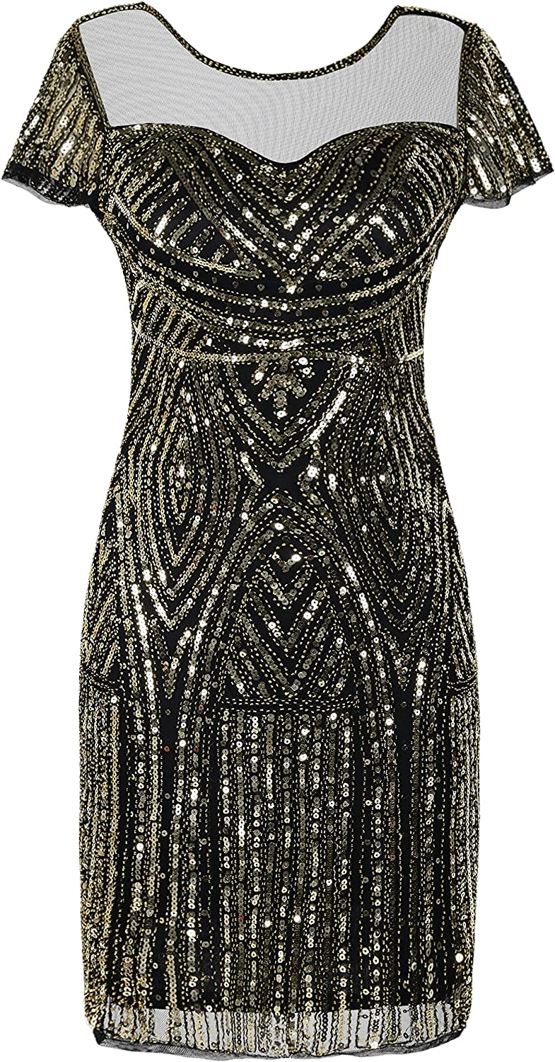 PrettyGuide Women's Gatsby Dress 1920s Sequin New Shipping Genuine Free Deco Cocktail Bead