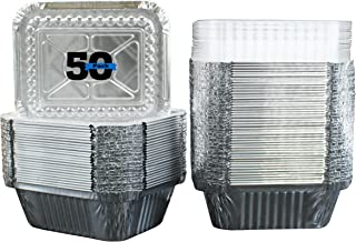 "50 Pack of Disposable Takeout Pans with Clear Lids – 1 Lb Capacity Aluminum Foil Food Containers – Strong Seal for Freshness – Eco-Friendly and Recyclable – 5x4"" Inch Drip Pans - By MontoPack"