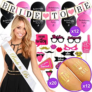 Bachelorette Party Decorations KIT | Pink & Black Bridal Shower Set | Sash, Veil/Comb, Banner, Bride Tribe Tattoos, Photo Booth Props, Balloons | Wedding Engagement Party Supplies Accessories