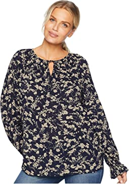 Cotton Viscose Crinkle Long Sleeve Blouse
