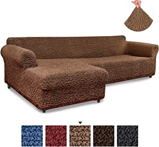 Sectional Sofa Cover - Sectional Couch Covers - L Couch Cover - Cotton Fabric Slipcovers - 1-piece Form Fit Stretch Furniture Slipcover - Mille Righe Collection - Camel (Left Chase)