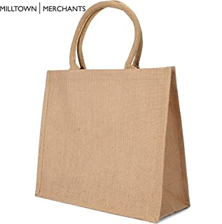 Jute Burlap Tote Bags - Natural Burlap Bags with Cotton Handles - (12 Pack/Large) - Reusable Tote Bags with Laminated Interior - Shopping Bag/Grocery Bag/Gift Bag