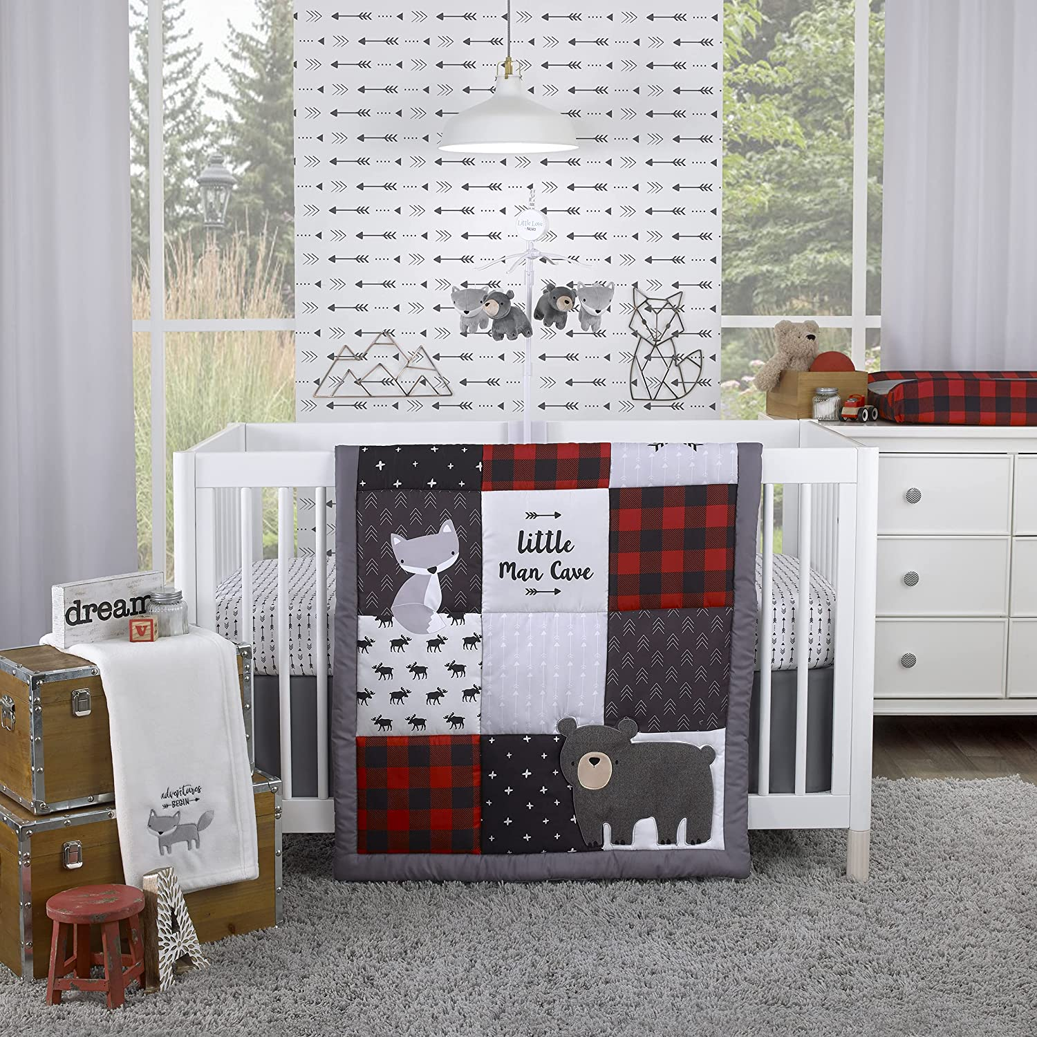 67% OFF of fixed price Cheap sale NoJo Little Man Cave Grey Red Moose Bear Fox Black Ivory