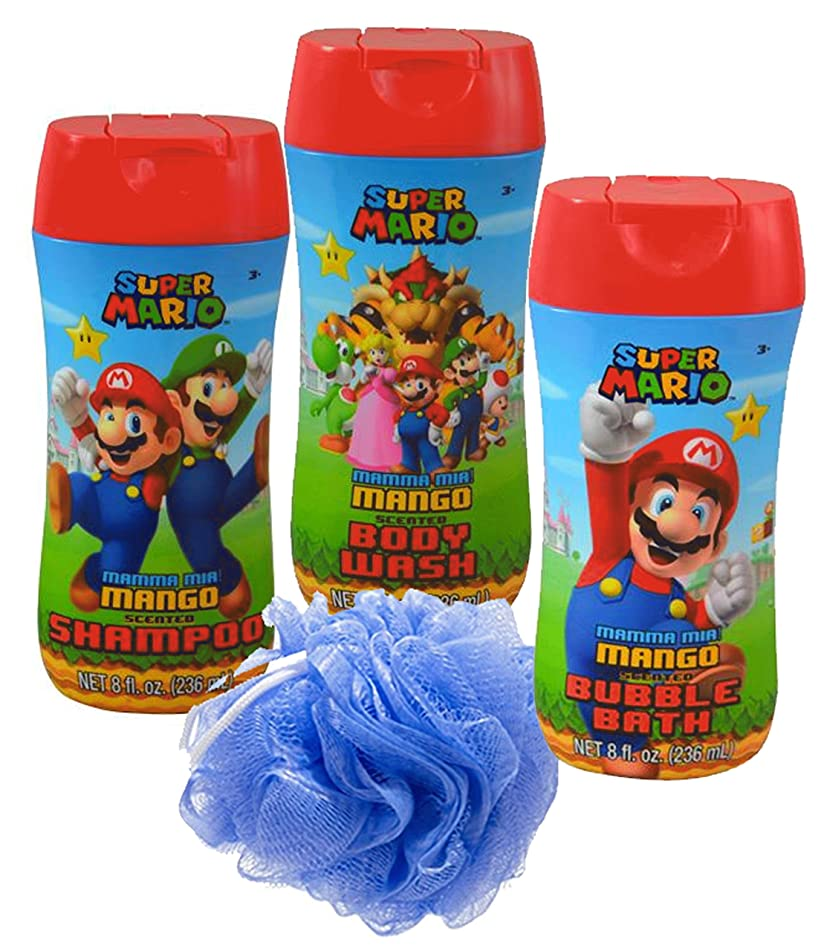 Super Mario Brothers 4pc Bathroom Collection! Includes Body Wash, Shampoo, Bubble Bath & Bath Scrubby!